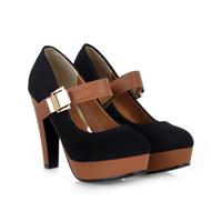 rom-stil high heel großhandel-Großhandels-Rom-Art-Plattform-Schuhe für Frauen arbeiten starke Ferse-Pumpen-Damen-Kleid-beiläufige Schuhe reizvolle Absatz-Pumpen um freies Verschiffen