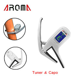 Wholesale Guitar Tuner Aroma - Aroma 2-in-1 Clip-on Guitar Tuner Capo Multifunction Universal for Guitar Bass Chromatic Wholesale Retail I539