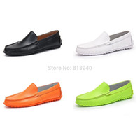 Wholesale Neon Green Orange Shoes - Wholesale-Mens Casual Deck Boat Shoes Slip On Moccasin Gents Neon Green Black Size UK 6-9