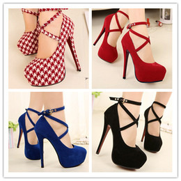 Wholesale Small Heel Shoes Suede - Wholesale-2015 Scarpin Women's Suede Cross Strap High Heel Shoes Stilletto Pumps scarpin Large Small Size 10 42 4 34 sapatos femininos