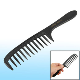 Wholesale Wide Tooth Comb Wholesale - Hairstyle DIY Wide Tooth Plastic Curly Hair Care Handgrip Comb 7.8 Inch