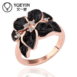 Wholesale Tension Set Three Stone Rings - R123 Hotting Sale Jewelry Ring With Rose Gold Plt SWA Elements Austrian Crystal Black Enamel Flower Wedding Ring For Wome