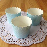 Wholesale High Quality Cupcake Papers - Free Shipping high quality small blue muffin cup, baking tools polka dot paper cups cupcake case liners tray for party birthday
