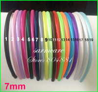 Wholesale Wholesale 8mm Leather Band - 8mm Width 19 Colors 40pcs lot Sample Quality Adult Baby Kids Satin Headbands Children Ribbon Headbands Hair Band Free Shipping