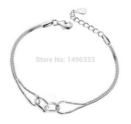 Wholesale Sterling Heart Love - 2016 New Style Top Fashion Pure 925 Sterling Silver Crystal Love Heart Box Chain Charm Bracelet Jewelry Best Gift for Women