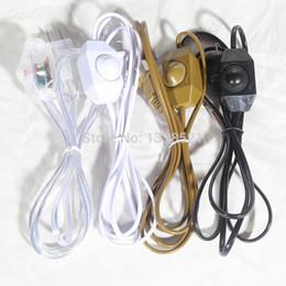 Lámpara de mesa de atenuación online-Al por mayor-Diy oscurecimiento lámpara de mesa lámparas de sal de cristal dimmer interruptor de iluminación lámparas enchufe cable eléctrico / negro 1800mm