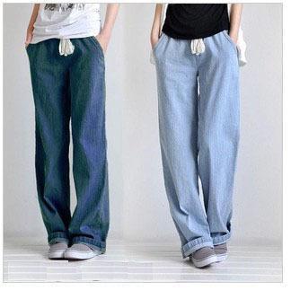 d2356db3290e5b Atacado-Mulheres Plus Size roupas casual baggy jeans cintura elástica reta  perna larga calças calças de laço
