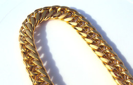 Wholesale Cuban Link Wholesale - Wholesale-Heavy MENS 24K SOLID GOLD FILLED FINISH THICK MIAMI CUBAN LINK NECKLACE CHAIN