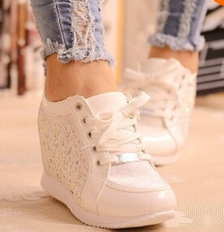 Wholesale Elevator Sneakers - Wholesale-2015 women Hidden Wedge Heels shoes Fashion Women's Elevator ankle boots causal Sneaker Sports Rhinestone Shoes 5A103