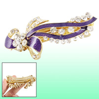Wholesale Metal Hair Clips French - Gold Tone Metal French Clip Purple Bowknot Design Hair Clip Barrette for Women