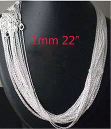 Wholesale 925 sterling silver rolo chain - Wholesale-wholesale 20pcs 925 sterling Silver 1mm Rolo Chain 22 inch FREE Shipping,925 sterling silver chain necklace,925 silver jewelry