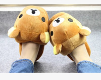 Wholesale cute bear slippers for sale - Group buy Super cute soft plush winter warm big head Rilakkuma bear home indoor slippers floor slipper Christmas amp birthday gift