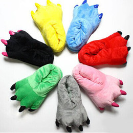 Wholesale Big Feet Slippers - Wholesale-Free shipping Monster Big Feet Bear Stitch Slipper Paw 10 Colors to Choose Yellow Green Pink Blue Animal Claw