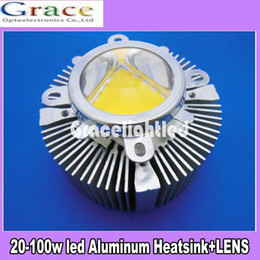 Wholesale Aluminium Beads - Wholesale-1pc 90*40mm Aluminium Heatsink + 90-120degree 44mm Len for 20W 30W 50W -100W High Power led bead FOR DIY