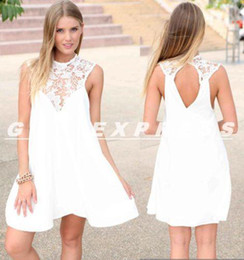 Wholesale Dropshipping Evening Dress - Wholesale-2015 Dropshipping Womens Summer Sexy Chiffon Lace Casual Party Evening Short Mini Dresses
