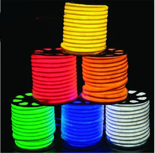 Wholesale-10m/lot LED Neon Flex Rope AC220V/110V PVC LED Light Indoor/Outdoor Use Disco Night Bar Christmas Party Decoration Free Shipping
