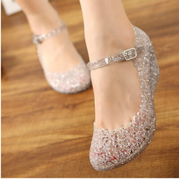 Wholesale Comfortable Sandals Women - Wholesale-Summer girls wedge jelly shoes beach comfortable Women sandals Wedges Sandals High Heels Glass Slipper Jelly Shoe