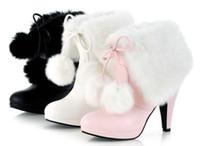 botas blancas de invierno para la piel de las mujeres al por mayor-Al por mayor-Libre del envío Negro / Rosa / Blanco 2015 Moda Ladys Cute Winter Snow Boots bola de la piel de gran tamaño Mujeres Tacones altos Bombas Botas D1447