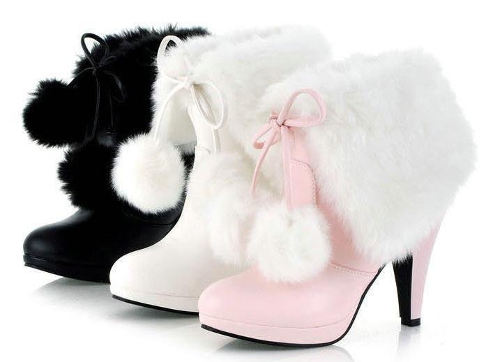 Wholesale-Free Shipping Black/Pink/White 2015 Fashion Ladys Cute Winter Snow Boots Fur Ball Large Size Women High Heels Pumps Boots D1447