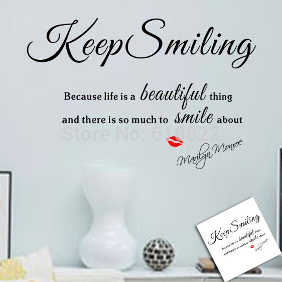 Keep Smiling Wall Stickers Quote Small Smile Quote Family Wall Sayings Wall  Living Room Wall Vinyl Decals Wall Vinyl Sticker From Wendy0709, $2.91|  Dhgate. Part 37