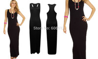 Wholesale Long Back Casual Dresses - High Quality Black Racer Back Maxi Dress Sleeveless Long Women Tank 3 Sizes Free shipping