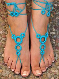 schuhe füße sexy sandalen Rabatt Wholesale-Crochet Barefoot Sandalen, Nude Schuhe, Fußschmuck, Strandhochzeit, Sexy Fußkettchen, Bauchtanz, Strandschuhe