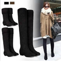 Wholesale Black Autumn Wedges - Wholesale-Fashion Womens Sexy Knee-high Long Boots Slim showing New Low Heel Winter Autumn Shoes Slip-on Leisure Folding Casual XWX500
