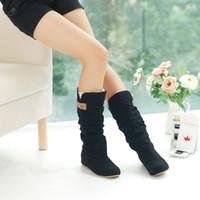 Wholesale Lace Cutout Boots - Wholesale-Botas Femininas 2015 Women Round-Toe Cotton Cutout Boots Plus Size 13 Lace Up Boots Shoes Plus Size 43