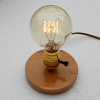 Wholesale Desk Coffee Lamp - Wholesale-Edison retro nostalgia and solid wood base E27 light bulb DIY small desk lamp Studio bar coffee shop decoration lighting