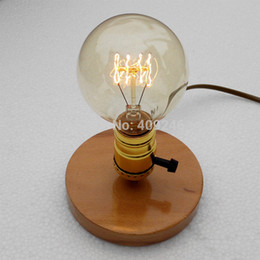 Discount small desk lights Wholesale-Edison retro nostalgia and solid wood base E27 light bulb DIY small desk lamp Studio bar coffee shop decoratio