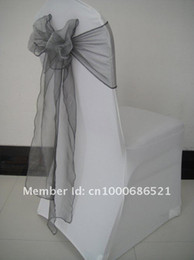 Wholesale Wholesale Spandex Chair Sashes - Wholesale-100pcs Spandex chair cover  wedding chair cover+100pcs organza chair sashes Silver Color