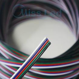 Wholesale Led Rgb Cable Extension - Wholesale-Freeshipping 10m 5-pin cable wire 22 AWG RGB Extension Blue Red White Green Black for RGBW SMD 5050 3528 Led RGB strip light