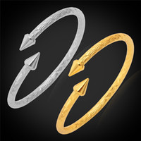 Wholesale Chunky Gold Bracelets Men - Chunky Cuff Bangle Bracelet For Woman Man Fashion New 18K Real Gold Plated Platinum Plated High Quality Jewelry Brand H375