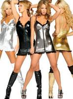 Wholesale Dresses Leather Look - Wholesale-Gold Silver Black Grey Colors Women Sexy Wet Look Club Dress PVC Faux Leather Metallic Dress Pole Dancing Dress Night Clubwear