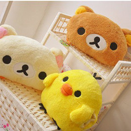 Wholesale Girl Plush Cushion Pillow - Wholesale-Yellow chick rilakkuma Cartoon muff cushions pillows The best gift plush toys in winter free shipping