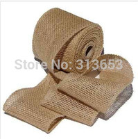 Wholesale Burlap Art - Wholesale-New year decoration Natural Jute Burlap Ribbon for country wedding Floristry wreath Arts Craft Gift Wrap -2.5 inch Width