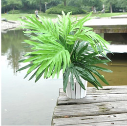 Wholesale Trees Plastic Leaves - Wholesale-Artificial Flower green Potting Plant in Bonsai Plastic Artificial Tree Leaves Potting Ceramic Pot High Quality