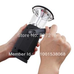 Wholesale Led Crank Light - Wholesale-Solar  Hand Crank Dynamo 6 LED Lantern camping Flashlight light lamp led solar lantern Outdoor camping