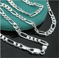 mens gümüş figaro toptan satış-Toptan-925-N144 Ücretsiz Kargo Gümüş Takı için Mens 4mm Figaro Zincir Kolye Fabrika Fiyat