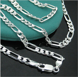 Wholesale Mens Figaro Necklace - Wholesale-925-N144 Free Shipping Sterling Silver 4mm Figaro Chain Necklace for Mens Jewelry Factory Price