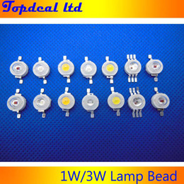 Wholesale 3w Red Led Diodes - Wholesale-30pcs lot epistar power 1W 3W led chips beads bulb diode lamp warm cold natural white white red yellow blue green RGB UV