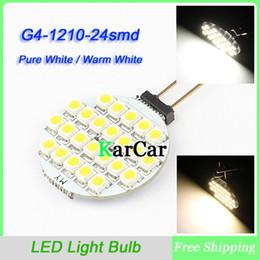 Wholesale G4 Bulb Pure White 12v - Wholesale-G4 24 SMD 1210 3528 LED Marine Bulb Lamp Light Car DC 12V Pin, 24LED Home Bulb Lamp Pure White   Warm White
