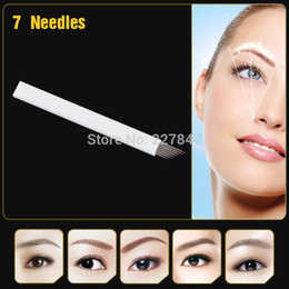 Wholesale Eyebrow Tattoo For Free - Wholesale-Free shipping JM611D-X4 100Pcs Permanent Makeup Manual Pen Blades 7- pin Needle For Eyebrow Tattoo