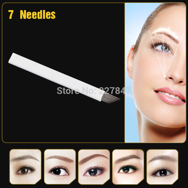 best selling Wholesale-Free shipping JM611D-X4 100Pcs Permanent Makeup Manual Pen Blades 7- pin Needle For Eyebrow Tattoo