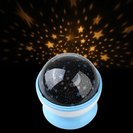 Wholesale Kids Star Projector - Wholesale-Room Night Light Lamp Rotary Flashing Starry Star Moon Sky Cosmos Projector Blue Kids Children Baby