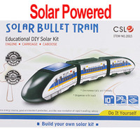 Wholesale Solar Powered Bullet Train - Wholesale-Freeshipping DIY Educational Assembly Solar Powered Bullet Train Toy Kit Chrismas Gift ,Dropshipping wholesale