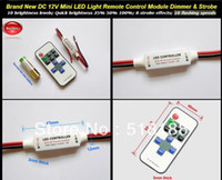 24V White Manual Switch Wholesale-Brand New DC 12V Mini LED Light Remote Control Module Dimmer & Strobe 10 brightness levels; Quick brightness 25% 50% 100%;