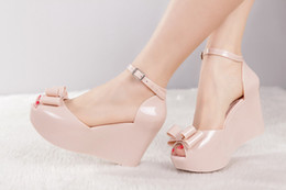 Wholesale Peep Toe Jelly Shoes - Wholesale-Free shipping the new pump fashion women wedge sandals 2015 Melissa jelly shoes bow platform peep-toe heels