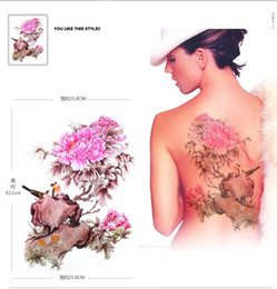 Wholesale Big Flower Tattoos - 3D Tattoo Pink Peony flower Magpie big large Temporary tattoo stickers waterproof for women