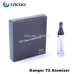 Wholesale Kanger Rebuildable Clearomizer - Orginal Kangertech Kanger T2 Clearomizer 2.4ml Rebuildable Atomizer Electronic Cigarette 510 Drip Tip Vaporizer Various Color